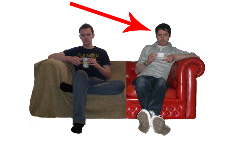 The 7 Reasons Sofa with a big, red arrow