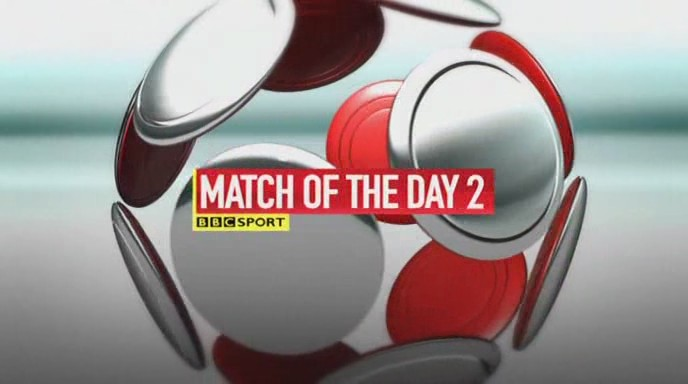 The BBC Match Of The Day 2 (two) logo. MOTD2, BBC TV Football programme,Premier League