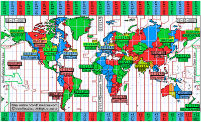 World Time Zone Map in colour