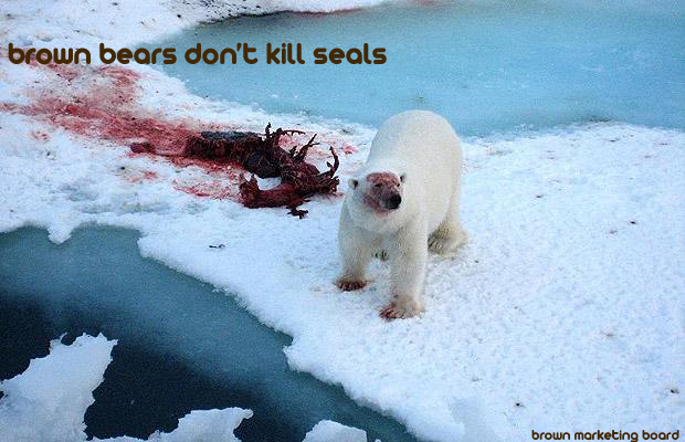 A poster by the Brown Marketing Board featuring a bloody polar bear and a seal corpse.