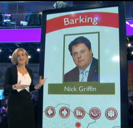 Emily Maitlis and the giant iPad (iMonolith) big screen form the BBC1 (BBC) Election special 2010 featuring Barking Nick Griffin (BNP)