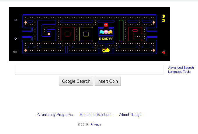 A screen capture of Google Pacman (pac man)