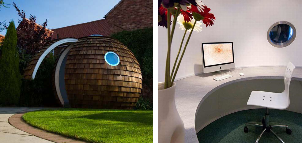 An external and internal photograph of The Archipod : a garden home office solution by archipod.co.uk