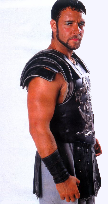 A picture of Russell Crowe in his Gladiator costume with make up