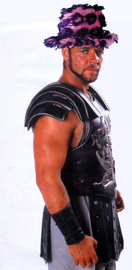 A picture of Russell Crowe in the costume from the film Gladiator with make up and a hat.