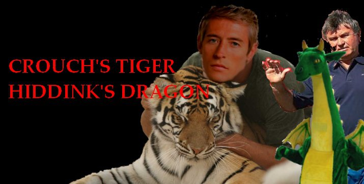 Crouch's Tiger Hiddink's Dragon: a picture of Peter Crouch's tiger and Gus Hiddink's dragon.  Obvious, really