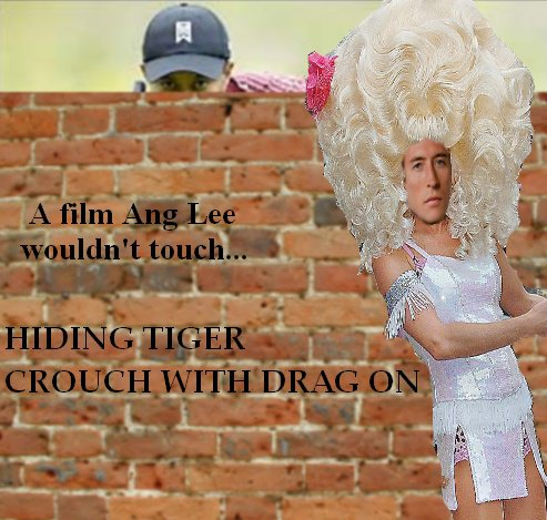 Peter Crouch dressed as Lily Savage while Tiger Woods hides behind a wall