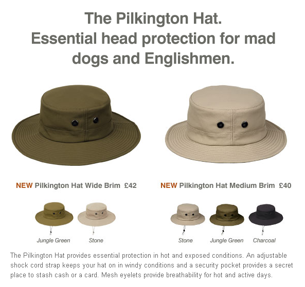 A Rohan ad,advert,advertisment for the Pilkington Hat.