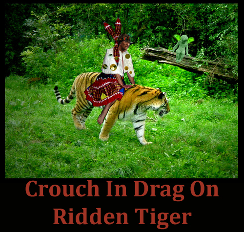 Peter Crouch dressed as a woman, riding a tiger