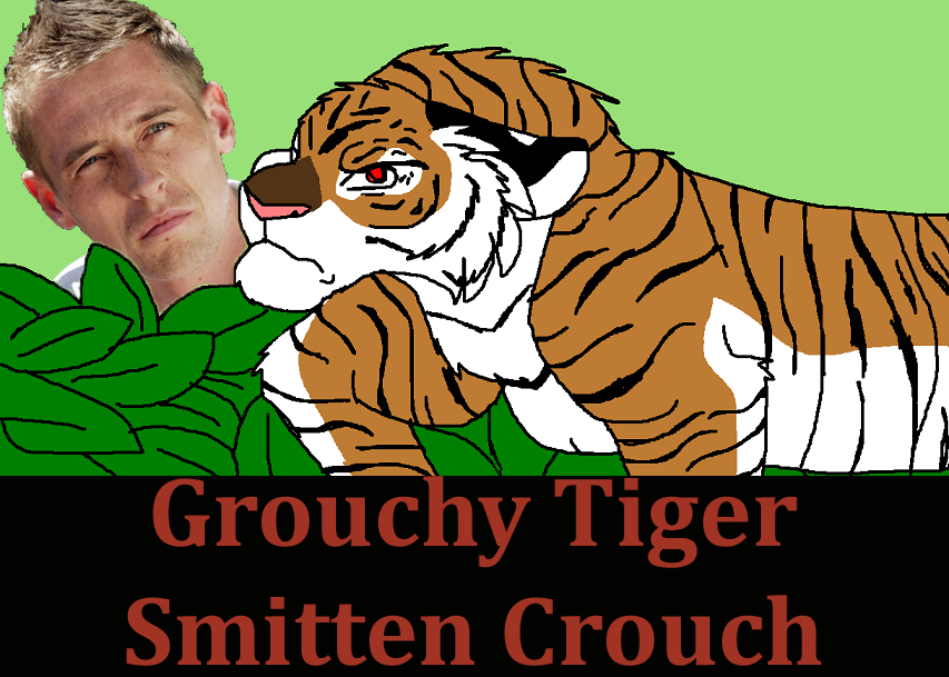Grouchy Tiger Smitten Crouch: Peter Crouch looking fondly at a grumpy tiger.