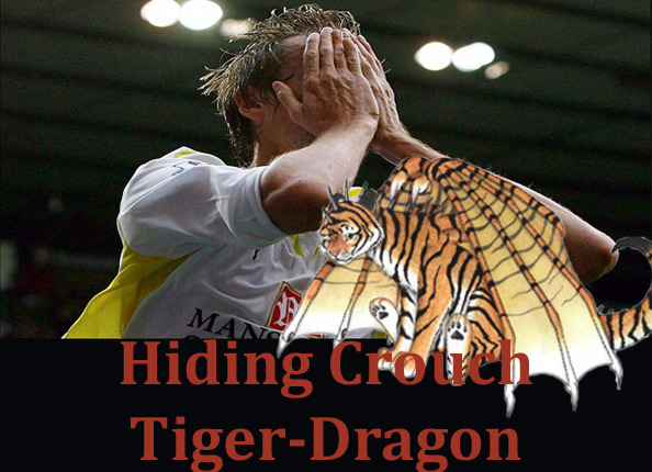 Hiding Crouch Tiger Dragon: A picture of Peter Crouch covering his eyes to hide from a tiger-dragon