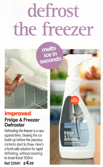 Lakeland's freezer defrosting spray from their summer 2010 catalogue