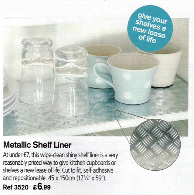 The Lakeland metallic shelf liner for their summer 2010 catalogue