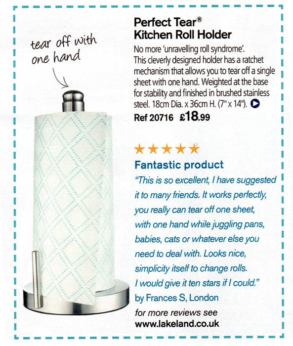 Lakeland's kitchen roll holder from their 2010 summer catalogue