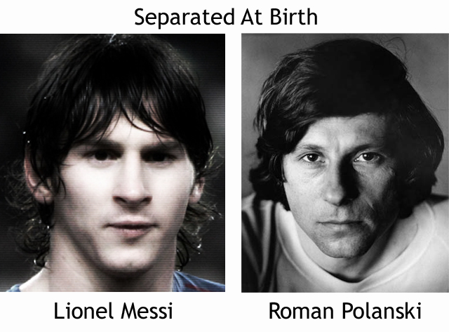 Lionel Messi and Roman Polanski look alike