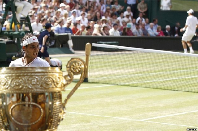 Rafael (Rafa) Nadal inside the Men's Wimbledon Trophy on Centre Court