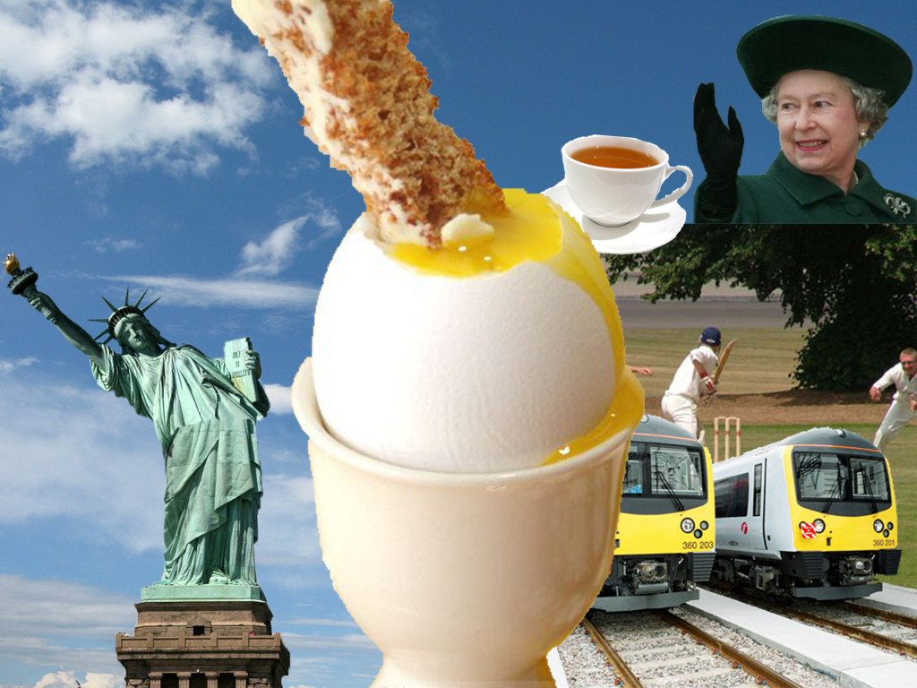 Photo montage featuring the statue of liberty, a boiled egg with toast soldier, The Queen, trains, cricketers playing a cricket game and a cup of tea.