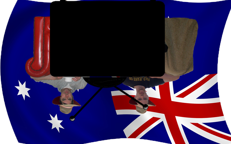 7 Reasons sofa with Australian Television and flag