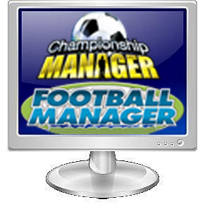 Computer monitor with the Championship Manager and Football Manager computer game logos