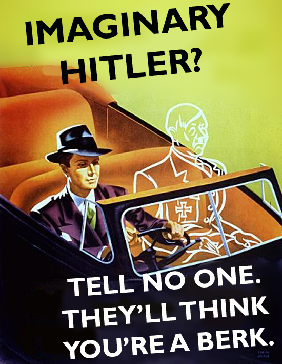 A British WWII WW2 World War Two II 2 propaganda poster instructing British men on how to deal with an imaginary Hitler in their car
