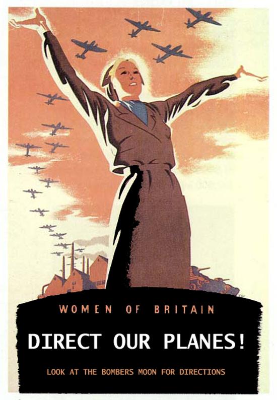 A WWII (WW2 World War Two World War II World War 2) British Propaganda poster designed to encourage women to direct British air craft
