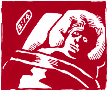 Red and white image of an insomniac man with alarm clock