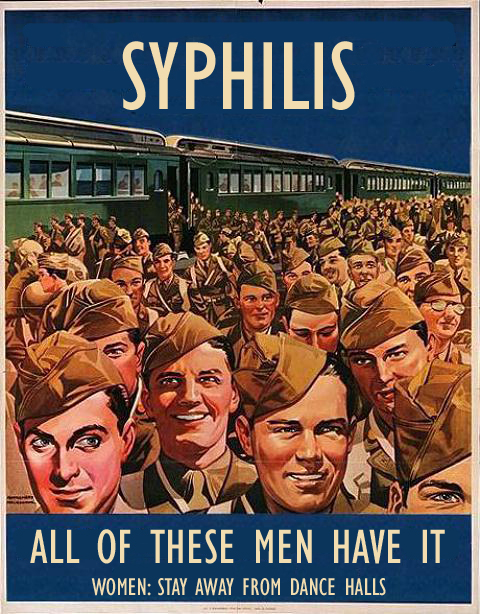A World War Two propaganda poster illustrating the dangers of fraternising with American GIs.  WWII WW2