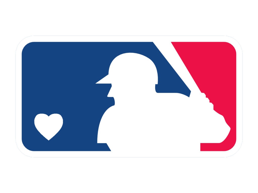 Major League Baseball - MLB, M.L.B. - logo in read and blue with a white heart.