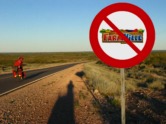 A Road Sign with No Farmville on it
