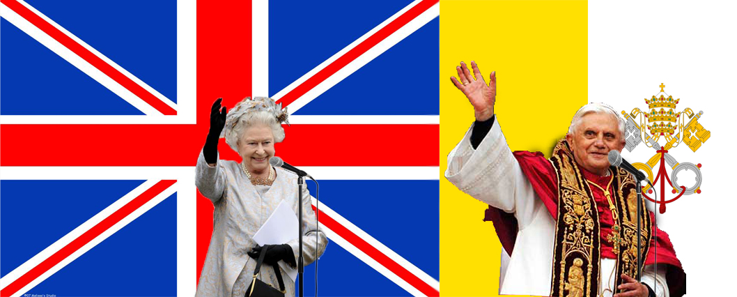 The Queen and the Pope waving in front of the flags of Britain and Vatican City with microphones