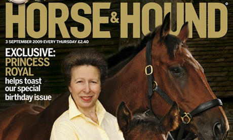 The Princess Royal (Princess Anne) on the front cover of Horse and (&) Hound magazine with a horse