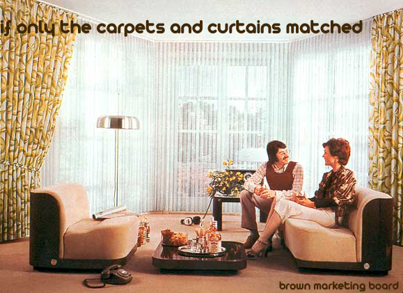 A Brown Marketing Board poster from the 1970s to encourage uniformity in interior design