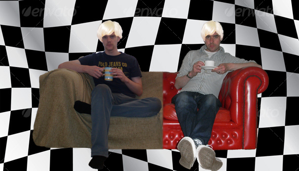 The 7 Reasons sofa with a chequered flag and the 7 Reasons team wearing Bernie Ecclestone's hair