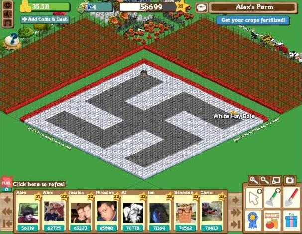 "A screen capture of a Farmville (Farm Ville) swastika (NAZI symbol) on a ""farm"""