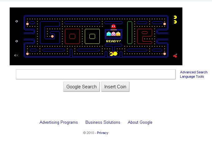 A screen capture of Google Pacman (pac man)