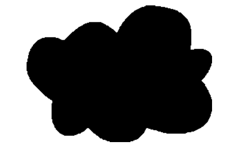 A cartoon drawing of a black cloud
