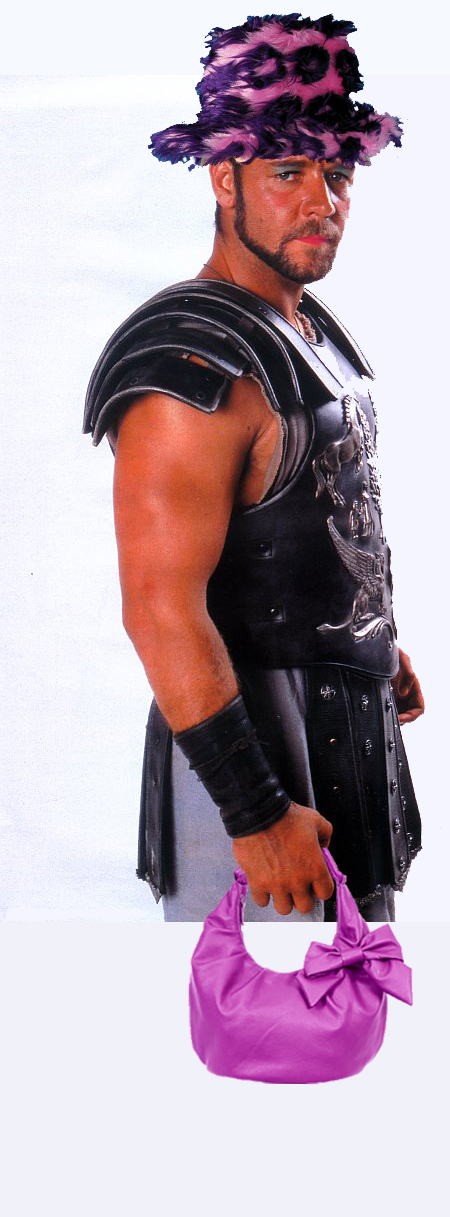 A picture of Russell Crowe in his Gladiator costume with make up, a hat and a handbag.