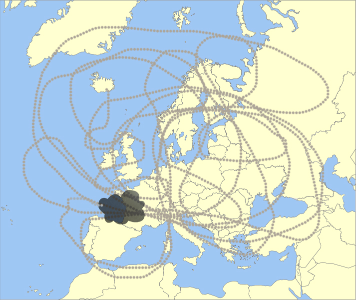 The route of the Iceland volcanic (volcano) ash cloud plotted on a map of Europe