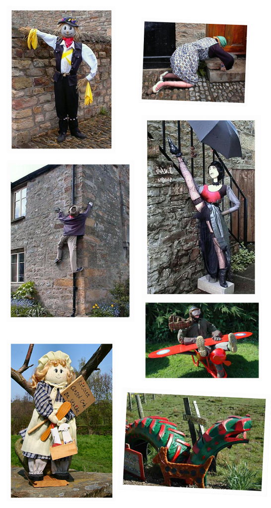 A montage of photos of scarecrows from the Wray Scarecrow Festival