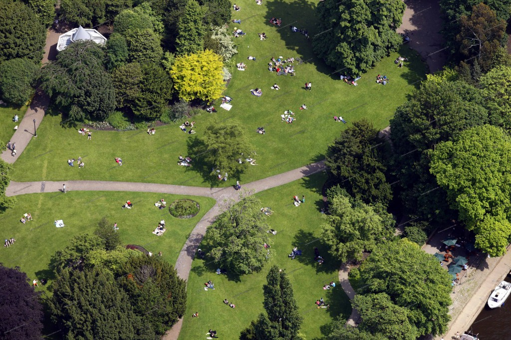 An aerial view of York's Museum Gardens.