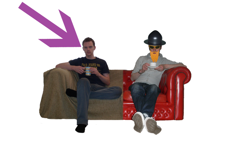 The 7 Reasons sofa with an arrow pointing to British writer and humourist, Jonathan Lee