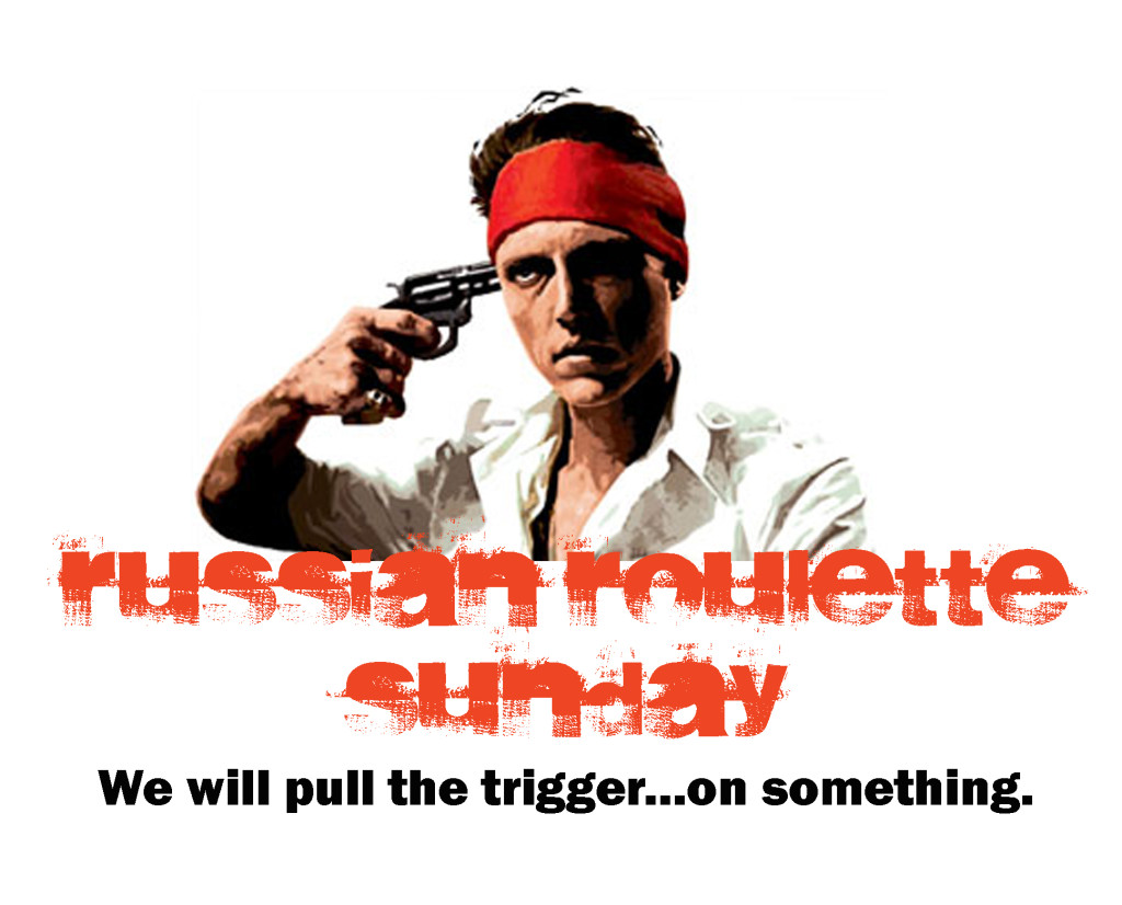 The 7 (seven) Reasons Russian Roulette Sunday logo featuring Christopher Walken from the Deer Hunter