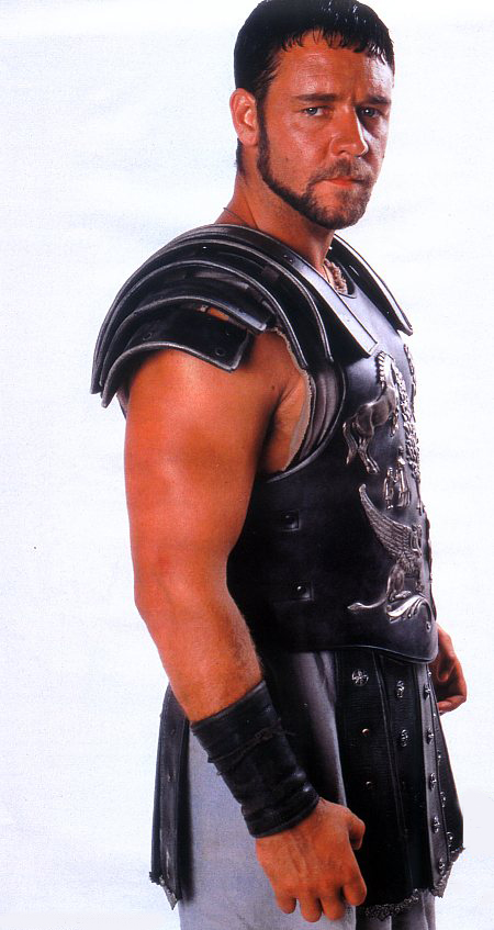 A picture of Russell Crowe in his Roman costume from the film Gladiator