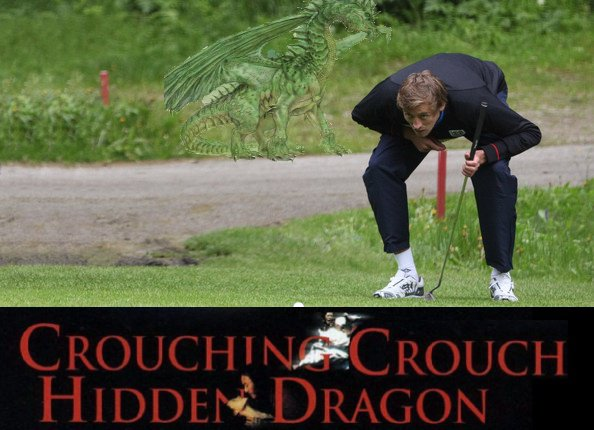 Crouching Crouch Hidden Dragon, a picture of Peter Crouch playing golf with a dragon behind him, courtesy of Ceci Masters.
