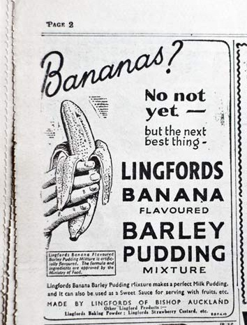An advert in the Sunday Pictorial newspaper from March 11th, 1945 for Lingfords banana flavoured barley pudding mixture