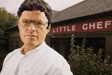 Fabio Capello pictured outside a Little Chef.