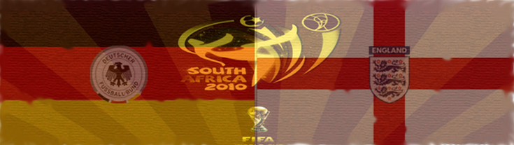 Germany V England South Africa FIFA World Cup 2010 June 27, the German and English flags and the World Cup 2010 logo Bloemfontein
