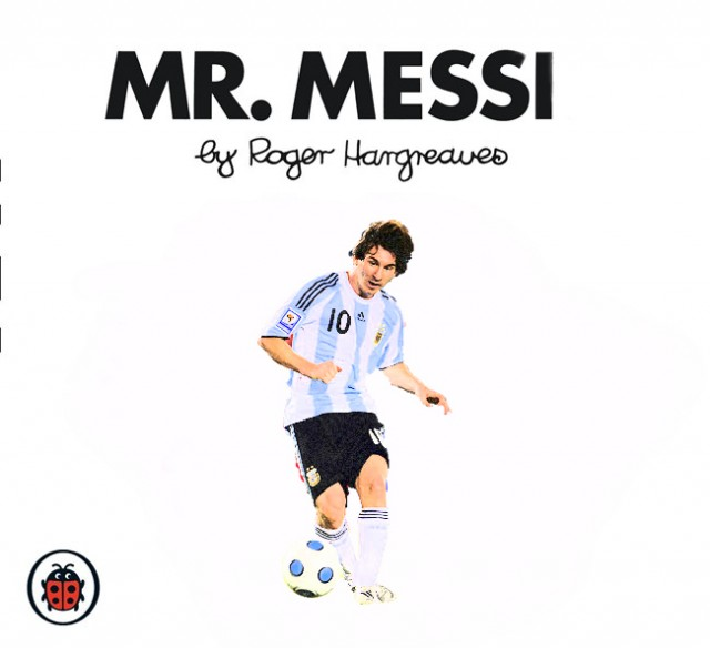 Lionel Messi in an Argentina shirt on the cover of a Roger Hargreaves Mr Man book (Mr Men)