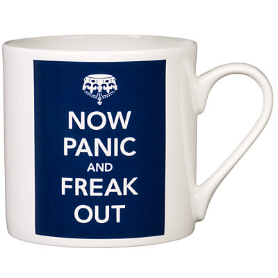 A Now Panic and Freak Out Mug, in blue