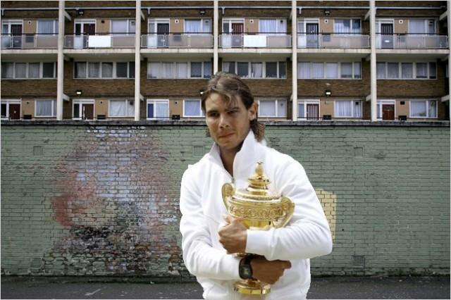 Rafael (Rafa) Nadal takes the Men's Wimbledon trophy to Slough